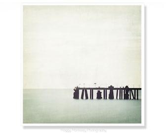 Old Pier Photograph, Seascape, Green, Sea Green, Wicklow, Ireland Photograph, Textured Art