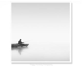 Fishing Art Decor, Fishing Photograph, Gift For Fisherman, Black and White Photography, Mindfulness Art Print, Wall Art for Bathroom