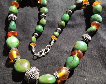 Deep green Tibetan Turquoise and Amber Beads Sterling SilberBeads and Claps Necklace