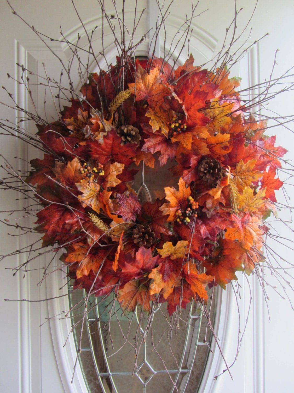 Fall Wreath Autumn Wreath Leaf Wreath Fall Door Wreath