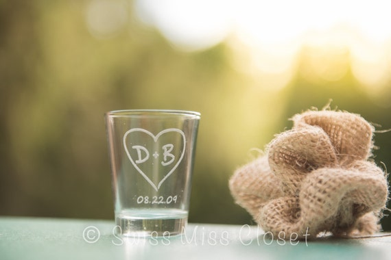 Custom Etched Shot Glass Personalized Wedding Favor Bride Groom Gift