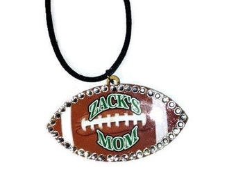 Football Necklace, Football Mom, Personalized Jewelry, Customized Text, Rhinestone Necklace, Football Bling, Sports Jewelry