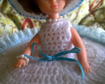 Vintage 1960s Doll Cushion- Large handmade crochet and lace Dolly Varden (removable)