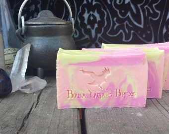 One Big Ray Cold Process Soap- Aromatherapy of valencia orange, lemon, grapefruit essential oil