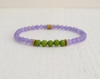 Jade bead bracelet, Purple and green jade bracelet, Stretch bead bracelet