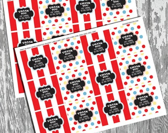 Circus Carnival Printable Thank You Favor Tags Stickers Labels INSTANT DOWNLOAD