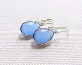 Pale Blue Silver Earrings, Periwinkle Teardrop Crystal Earrings, Silver Rhodium Dainty Modern Earrings, Minimal, Bridal