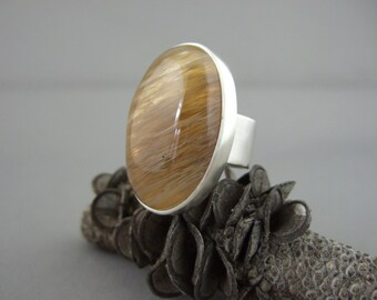 Brown Moss Quartz Sterling Silver Ring