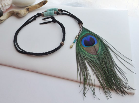 Peacock Feather Adjustable Boho, Hippie, Native, Southwestern, Necklace with Amazonite Gemstone Heishi and Arrow Charm on Leather Lace