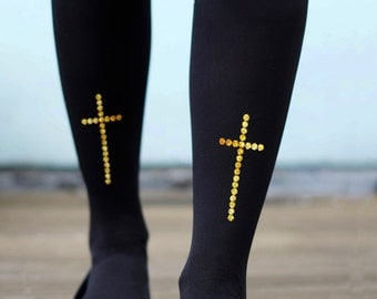 Gold or Silver Cross Tights