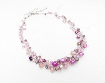 Purple freshwater pearl necklace with crystal, stone on silk thread