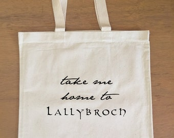 Outlander Tote Bag - Take me home to Lallybroch - Claire and Jamie Fraser - Diana Gabaldon
