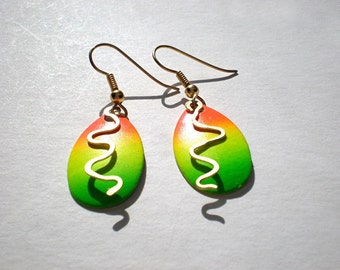 Neon dangle earrings - fish lure earrings, orange, green & yellow drops, hammered brass squiggles, spinner blade earrings, metal earrings