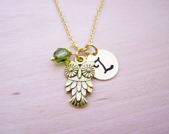 Owl Necklace - Gold Initial Necklace - Birthstone Necklace - Gold Initial Necklace - Personalized Necklace - Owl Charm