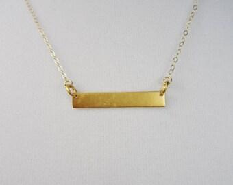 24k Gold Vermeil Bar Necklace, Horizontal Bar Necklace, Gold Bar Necklace, Layering Necklace, 14k Gold Filled Chain, Minimalist, Geometric