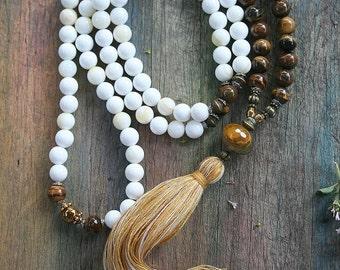 Beautiful shell / tiger eye gemstone mala necklace