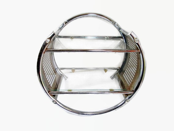 Round Chrome Wall Shelf Vintage Metal Shelf by GirlPickers on Etsy
