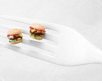 Burger Earrings, Cheeseburger Studs, Food Jewelry, Hamburger Post Earrings, Fast Food Earrings, Polymer Clay Stud,Foodie Gift Teenager