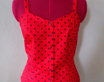 Retro 50s 60s Inspired Top/ Red Polka Dot / Sleeveless/ Rockabilly Summer Spring/ Cotton