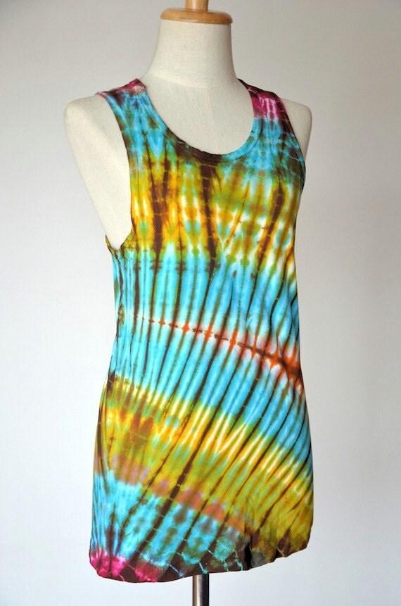 Hippie t shirt tie dye t shirt tank top colorful sleeveless for Tie dye sleeveless shirts