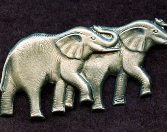 Sterling Elephants Pin
