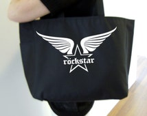 Rockstar tote bag - rockstar themed gift - polyester tote bag - star and wings tote bag - original design apparel rockstar bag - star logo