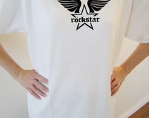 Rockstar wings original design cotton t-shirt - rockstar themed t-shirt - heavy cotton t-shirt - original design apparel - star wings logo