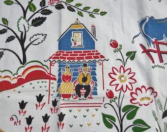 AMAZING 1+ Yard of Vintage Markwood  Fabric Guaranteed to Be Vat Prints Farm Scene