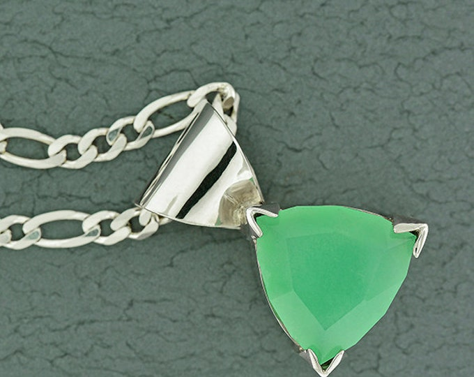Glowing Mint Green Chrysoprase Pendant in Sterling Silver with or without Chain