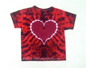 SALE! Child Small Tie Dye Shirt Red and Maroon Heart