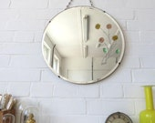 Vintage Round Art Deco Bevelled Edge Wall Mirror Colored Glass Flower Details