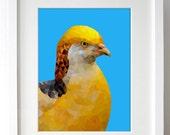 004.Geometric Yellow Bird Digital Art Print : Bird Wall Art / Bird Home Decor / Printable Bird Art - INSTANT DOWNLOAD