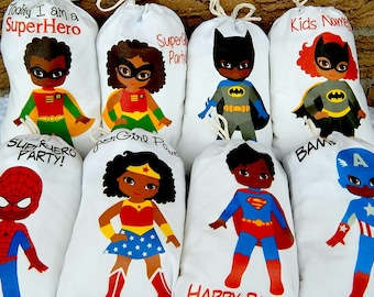 "Favor Bags African American Superheros Birthday Party or School events for Treat's or gift Can be personalized 5"" X 7"" or 6"" X 8"" Qty 8"