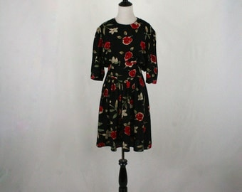 1980s does 1940s Rose Print Rayon Dress by S.L.Fashions
