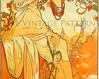 SUMMER - Vintage ALPHONSE MUCHA Four Seasons Series Illustration A4 300 dpi Jpg Printable Digital Image Instant Download