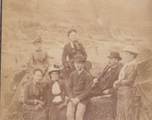 Victorian Large Cabinet Card Photo Outdoor Family Fashion Fishing Rothbury Northumberland #2