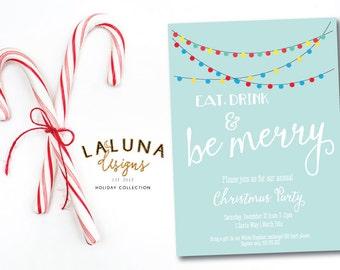 Christmas Party Invitation, Christmas Party Invite, Christmas Party Printable, Christmas Lights Invitation, DIY Printable