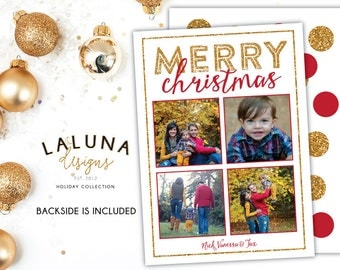Christmas Card, Photo Christmas Card, Gold Glitter Christmas, Merry Christmas, Happy Holidays, Holiday Card, DIY Printable Christmas Card