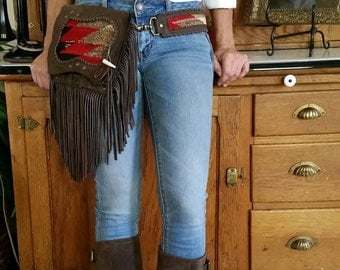 The Cowgirl Belt Bag, hands free, Navajo bag, fringe, also fits on most of your own personal belts, a two in one,
