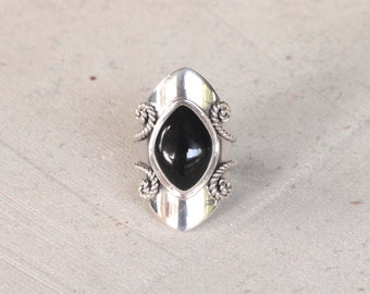 Marquise Shaped Gemstone Ring, Black Onyx and Solid 925 Sterling Silver Ring, Statement Rings, Boho Ring, Personalized Ring, Don Biu, Gypsy