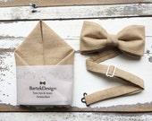 Set Bow Tie & Pocket Handkerchief by BartekDesign: beige latte cream ecru khaki linen wedding grooms