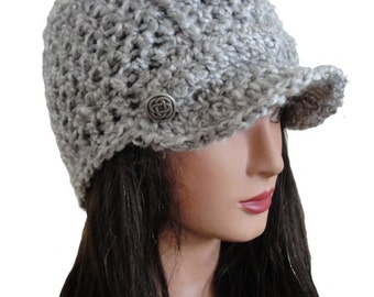 Women's Crochet Gray Newsboy Bill Brim Ribbed Beanie Hat