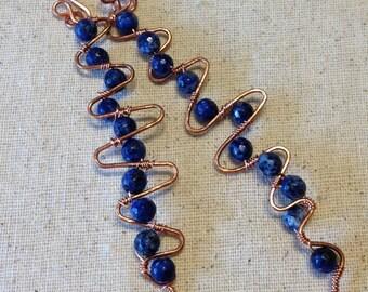 Blue and Copper Zig Zag Earrings - Blue Earrings - Copper Earrings - Zig Zag Earrings
