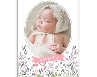 Baby Girl Birth Announcement Template - 5x7 Card - BABY ISABELLA - 1463