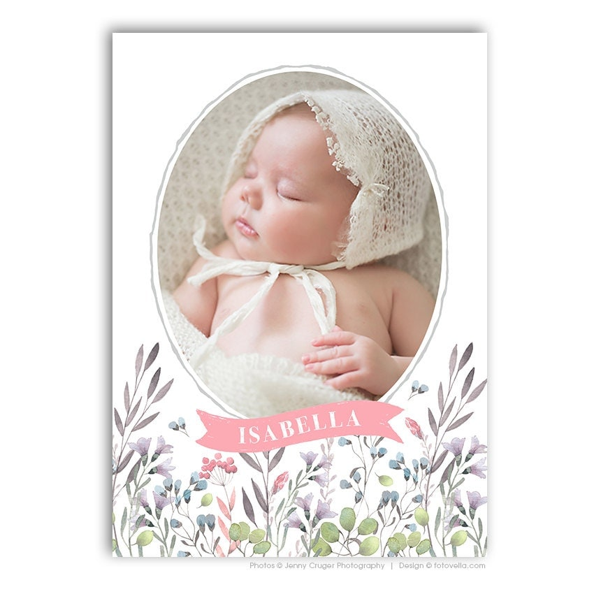 baby girl birth announcement template 5x7 card baby. Black Bedroom Furniture Sets. Home Design Ideas