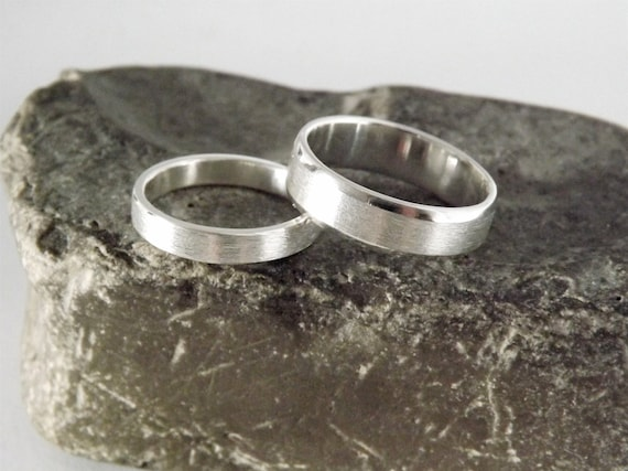 Couples Wedding Band Set / Promise Rings - Brushed and Beveled - Recycled Silver