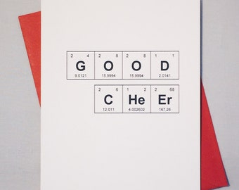 """Christmas Card Chemistry Periodic Table of the Elements """"GOOD CHeEr"""" Holiday Card, Xmas Card / Sentimental Elements"""