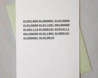 Happy New Year Geeky Binary Card / Binary Code Card / New Year Card for Nerds, Coders, Computer Programmers, Software Engineers