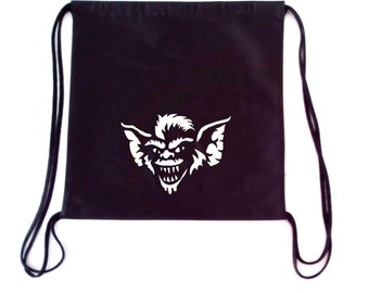 GREMLINS inspired drawstring backpack  Cotton canvas 35x35cm