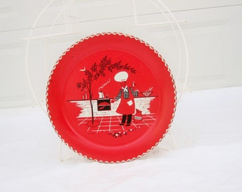 """Huge Red, Black and White Serving Tray - 'Stoyke' Serving Tray  - 19"""" Tray Designed by Marcelline Stoyke - Retro 50s Fun - Useful and Usable"""